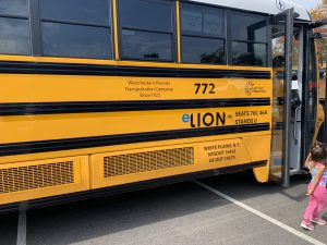 Electric school bus funded by Con Ed that is being used to test vehicle to grid bi-directional charging