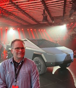 Bruce Becker, EV Club CT president, and Tesla Cybertruck
