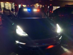 Westport CT Police Model 3 with police lights