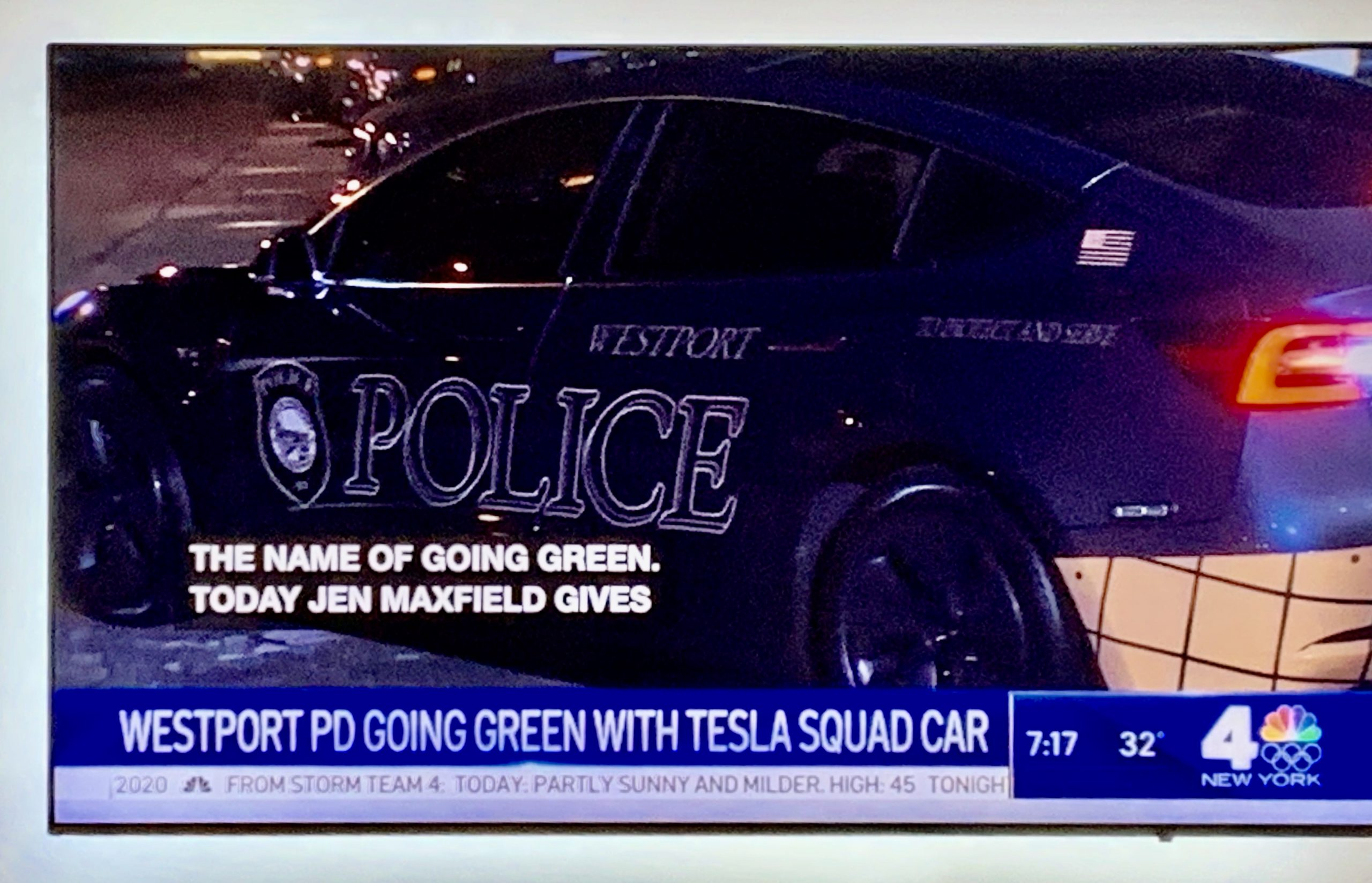 WNBC News Covering the Westport Police Department Tesla Model 3 Police Vehicle