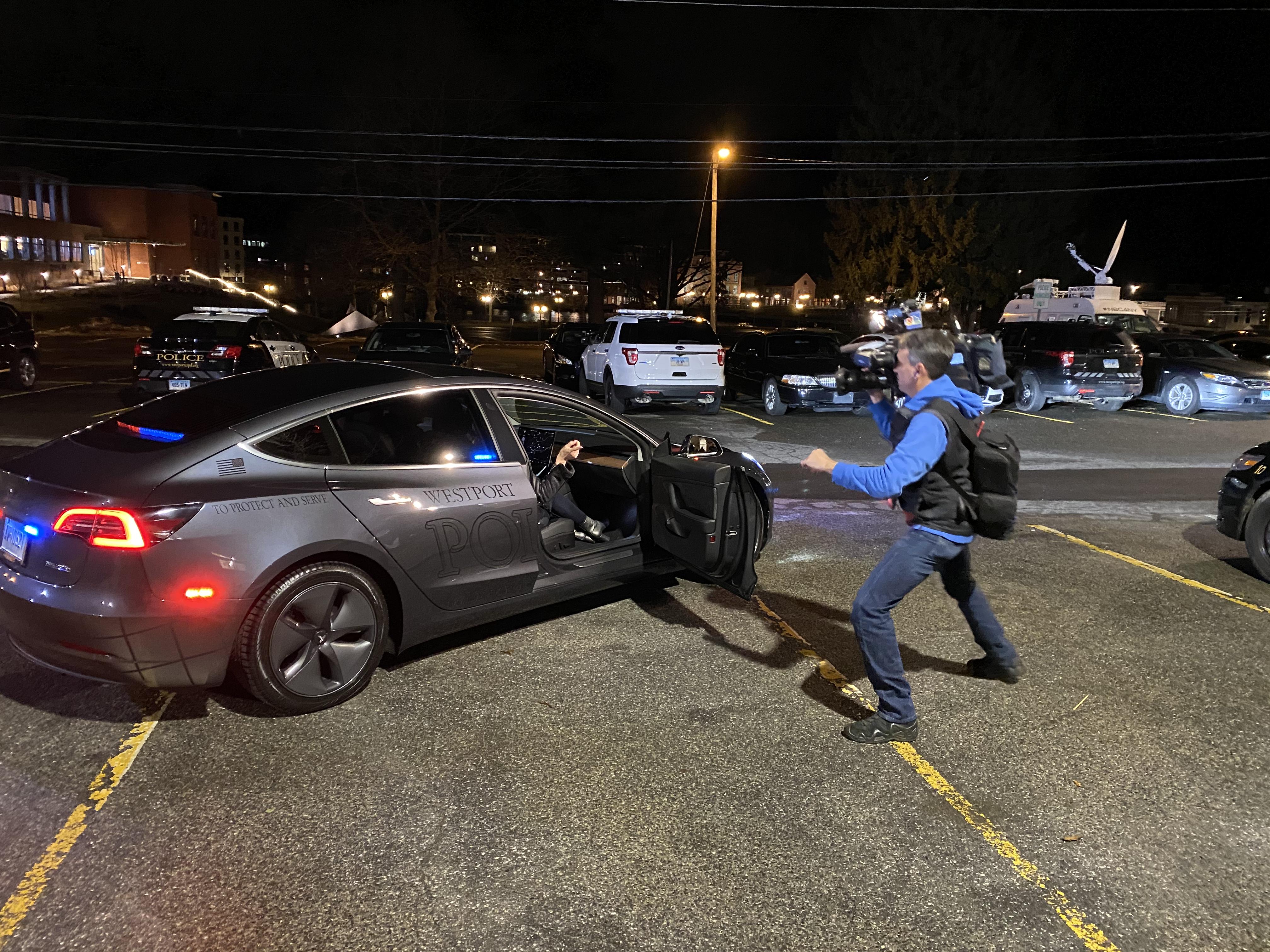 Tesla Model 3 and WNBC videographer