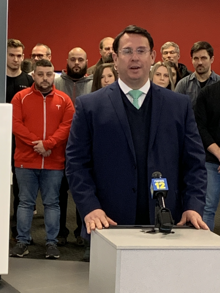 Mayor Ben Blake at Grand Opening of Tesla Leasing Operations in Milford