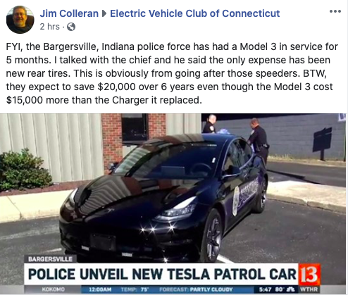 Bargersville, IN Tesla Model 3 Police Vehicle Report