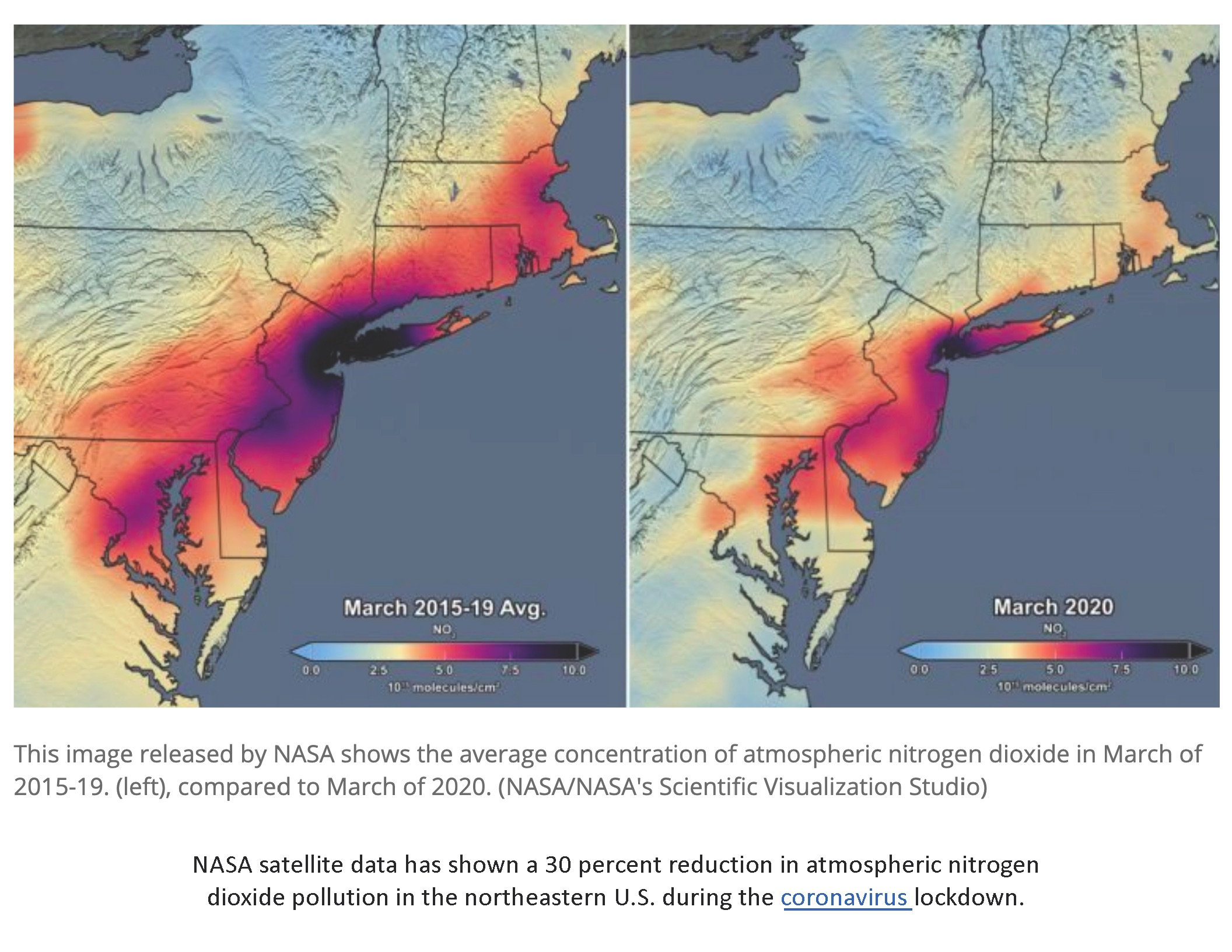 NASA air quality images for northeastern US pre and post coronavirus