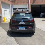 Rear view of customized Westport Police BMW i3