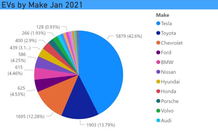 Registered EVs by Make Jan 2021