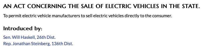 SB 127 Direct Sales of EVs