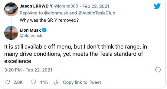 Musk pulling Model Y SR