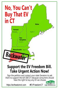 CT is the only state in New England that forbids EV direct sales